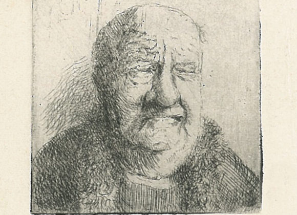 Drypoint portrait old man grimace