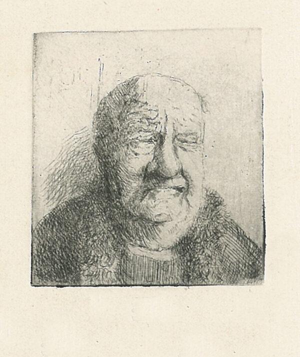 Drypoint portrait old man grimace