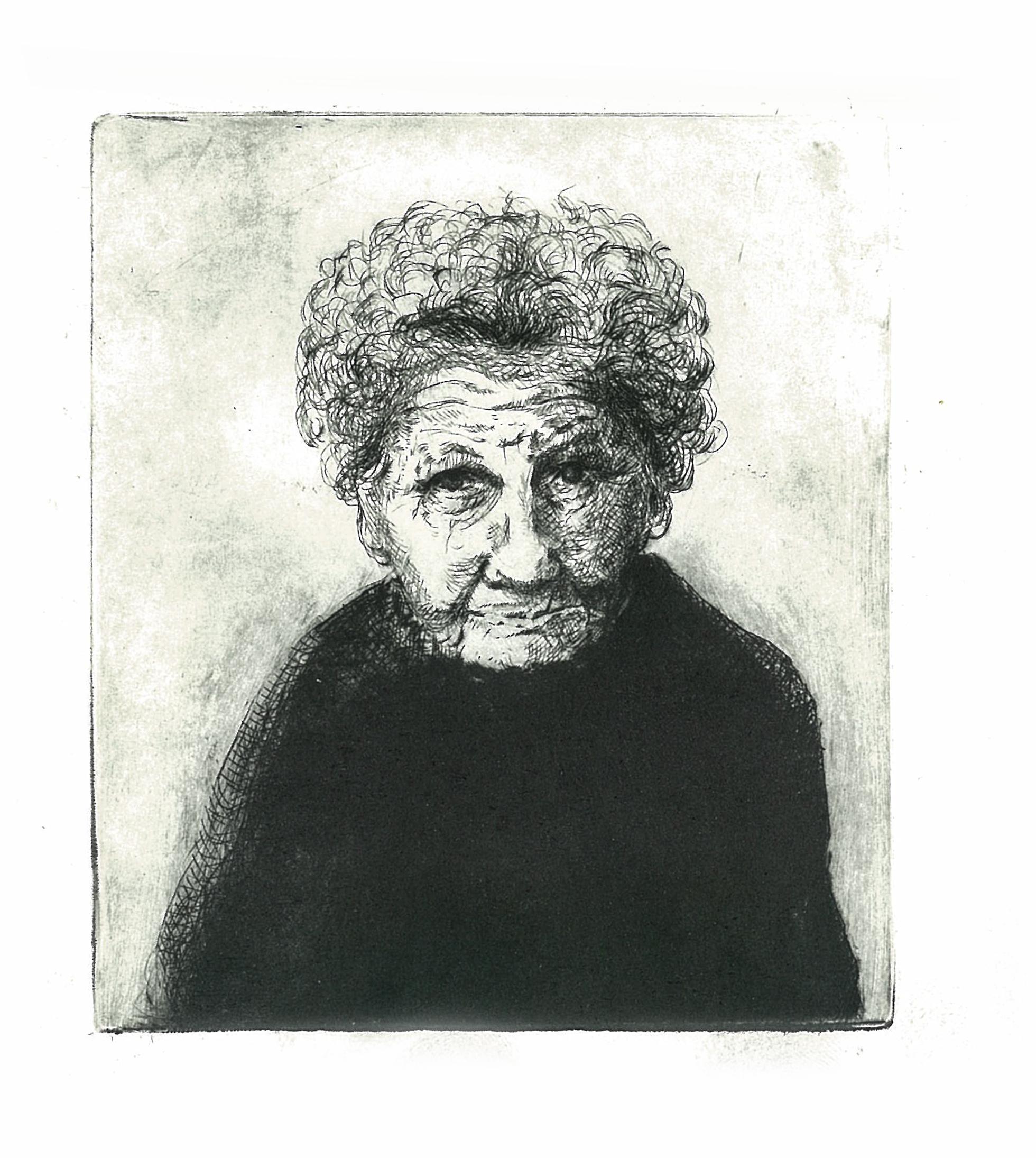 Drypoint portrait Granny