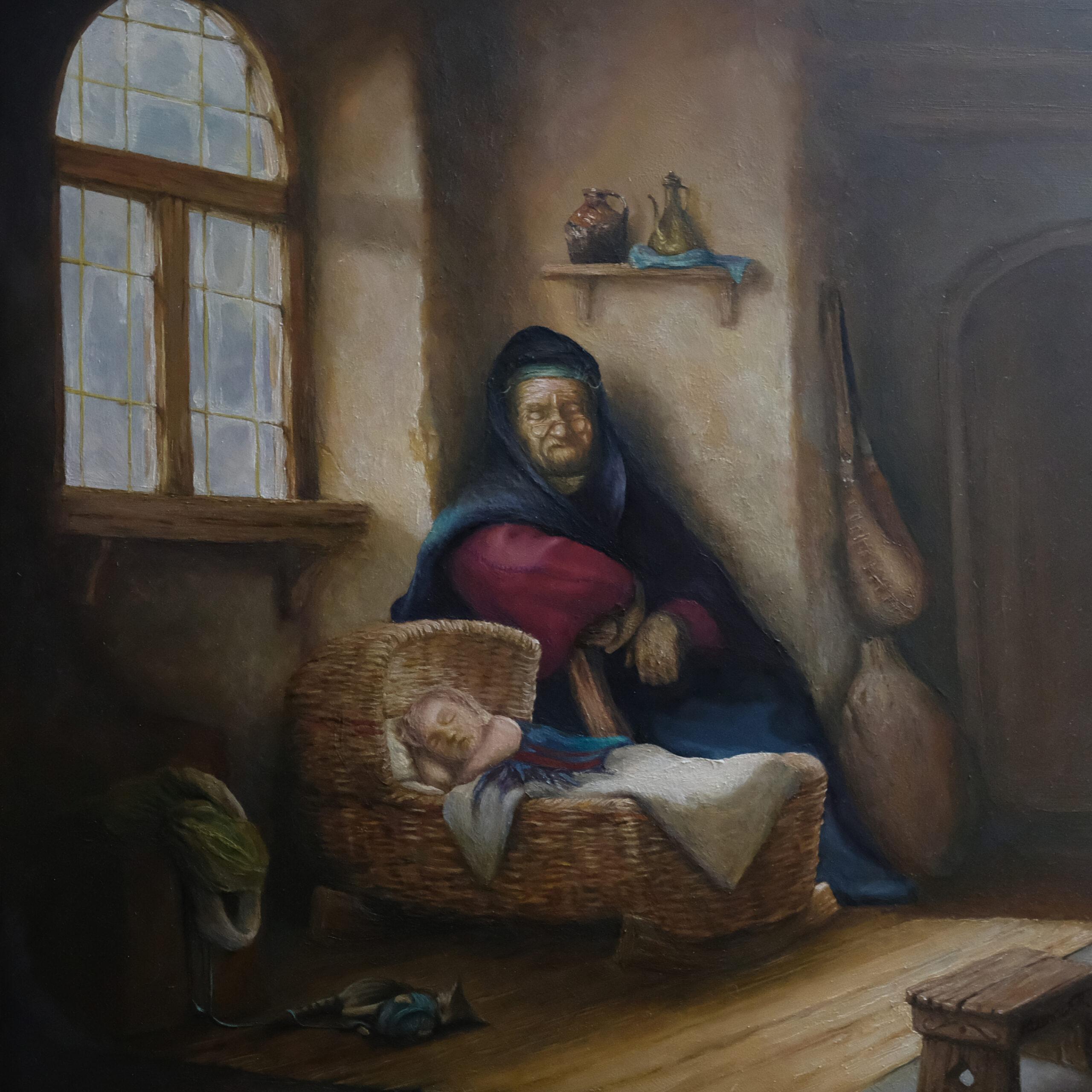 Sleepy time  oil painting on oak panel